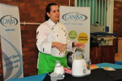 Chef Michelle Lopes from Home of Living Brands demonstrating use of the items