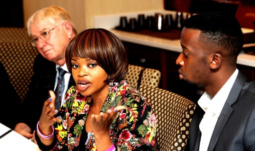Ms Zoleka Mandela discusses the prevalence of women's cancers at a press briefing in Johannesburg for the World Cancer Leaders' Summit.