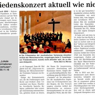"""Artikel """"Lokale Informationen"""" vom 30.11.16"""