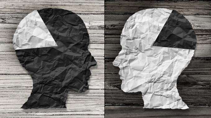 Paper heads in white and black