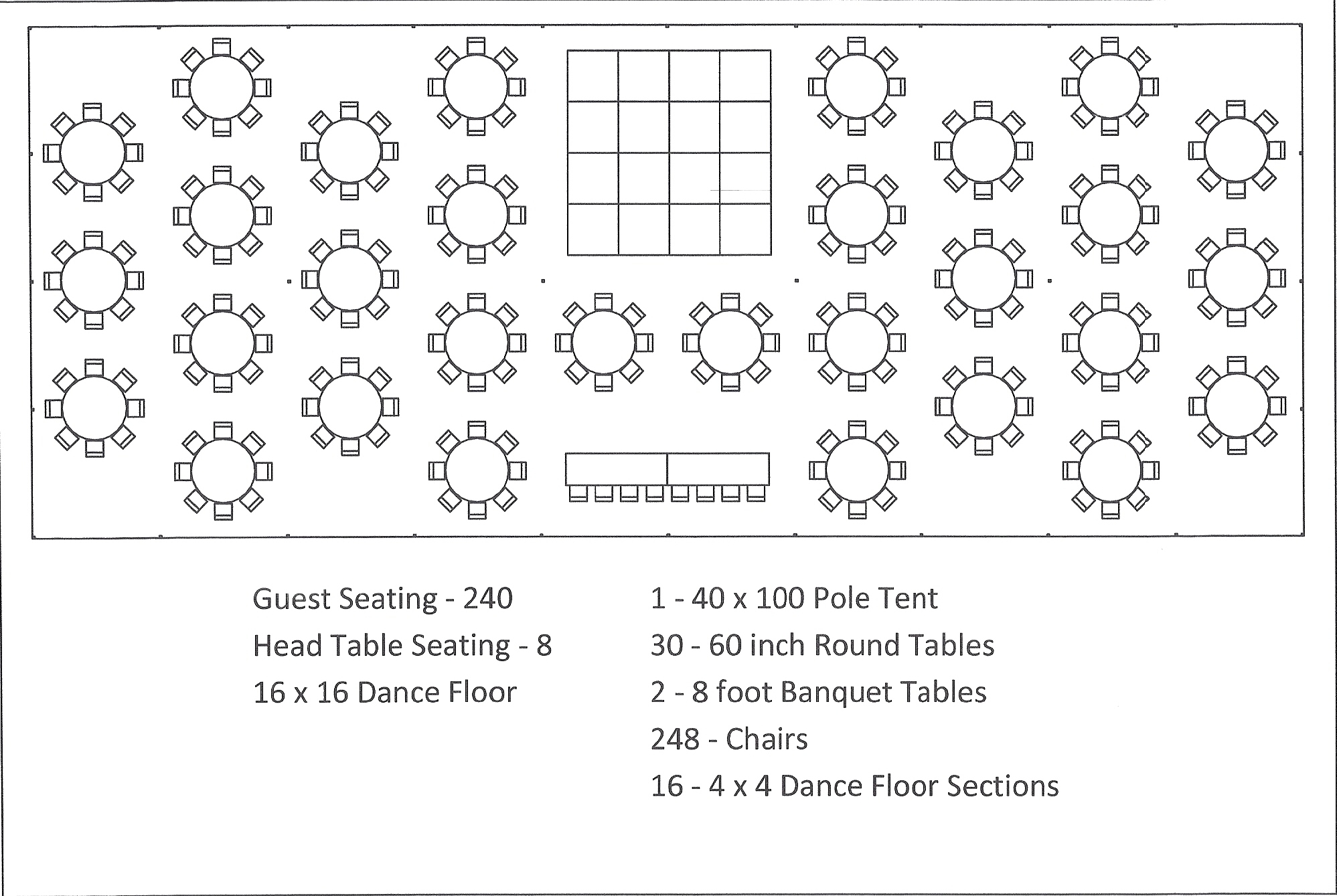 40 X 100 Pole Tent Seating Arrangements