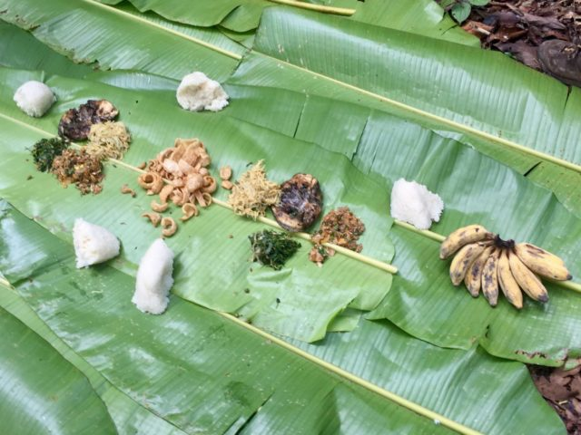 Traditional Lao food picnic lunch on banana leaves