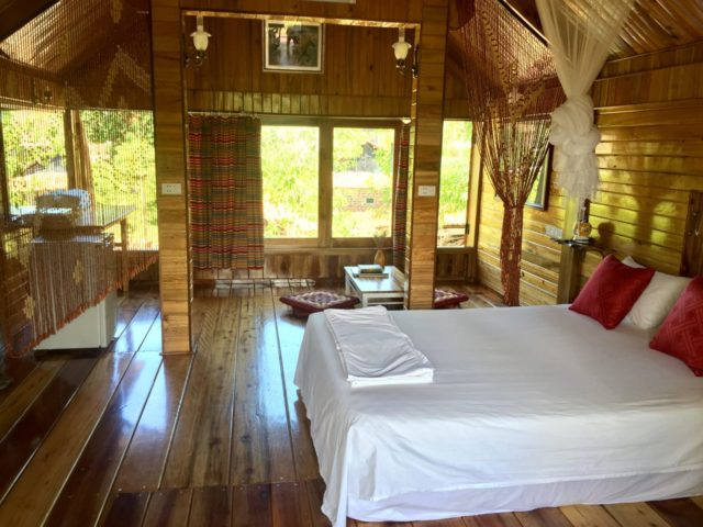 Double room in house on stilts at Phong Nha Mountain House, Vietnam