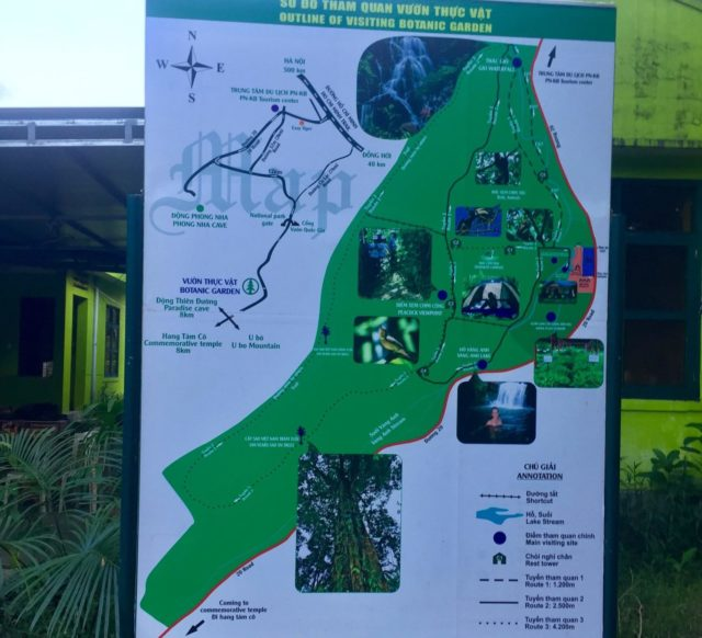 Route map of Phong Nha Botanical Garden in Vietnam
