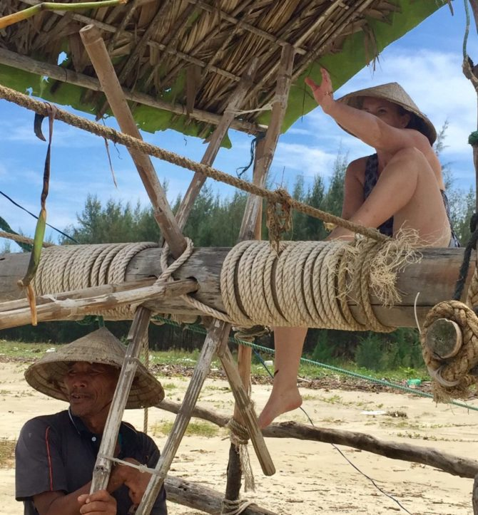Pulley System Raising a Large Fishing Net in Hoi An, Vietnam