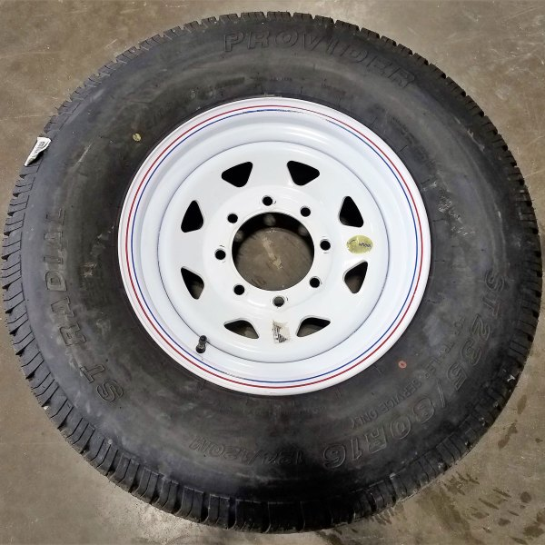 8 BOLT WHEEL & TIRE COMBO WHITE SPOKE 10PLY TIRE
