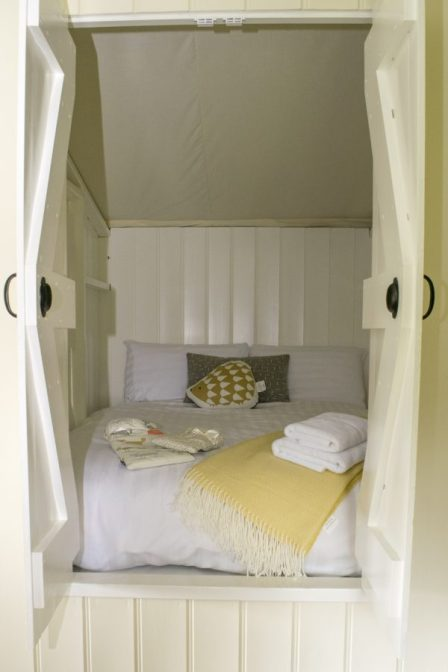 A view of the inside of the cabin bed