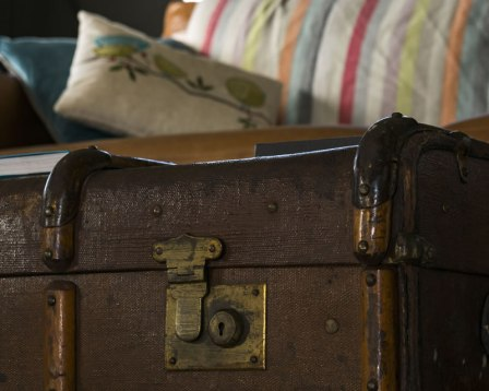 An image of the coffee table/old luggage chest in Afon, one of our luxury safari tents