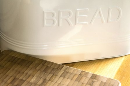 An image of the bread bin and bread board in Seren