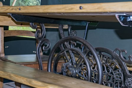 An image of the reclaimed sweing table dining table in Seren