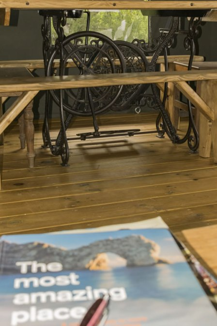 An image of the bespoke handcrafted sewing machine table in Seren