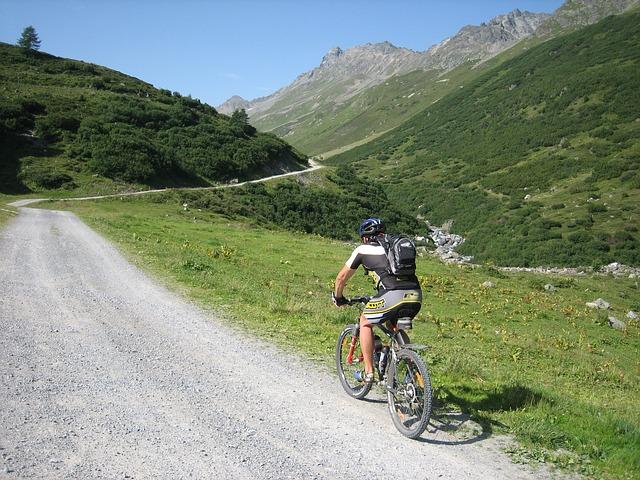 A photo of someone mountain biking