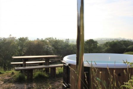 hot tub next to our safari tent named seren