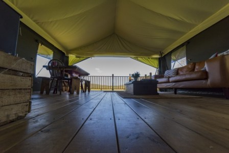 A low level view of the interior of the safari tent