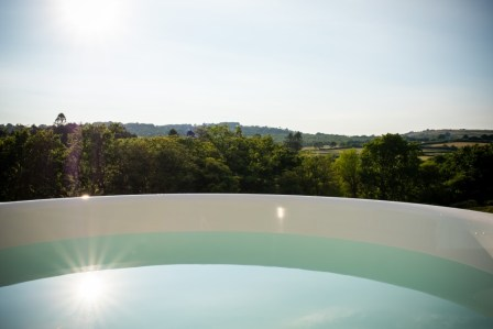 The hot tub and valley beyond