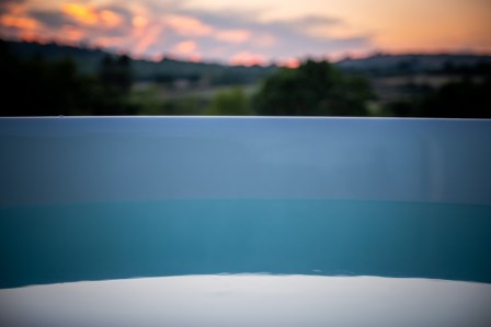 The sunset view from the hot tub