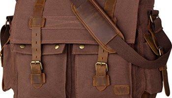 6a15f938c Wowbox 17.3 Inch Men's Messenger Bag Vintage Canvas Leather Satchel Laptop  Bags Bookbag Working Bag for