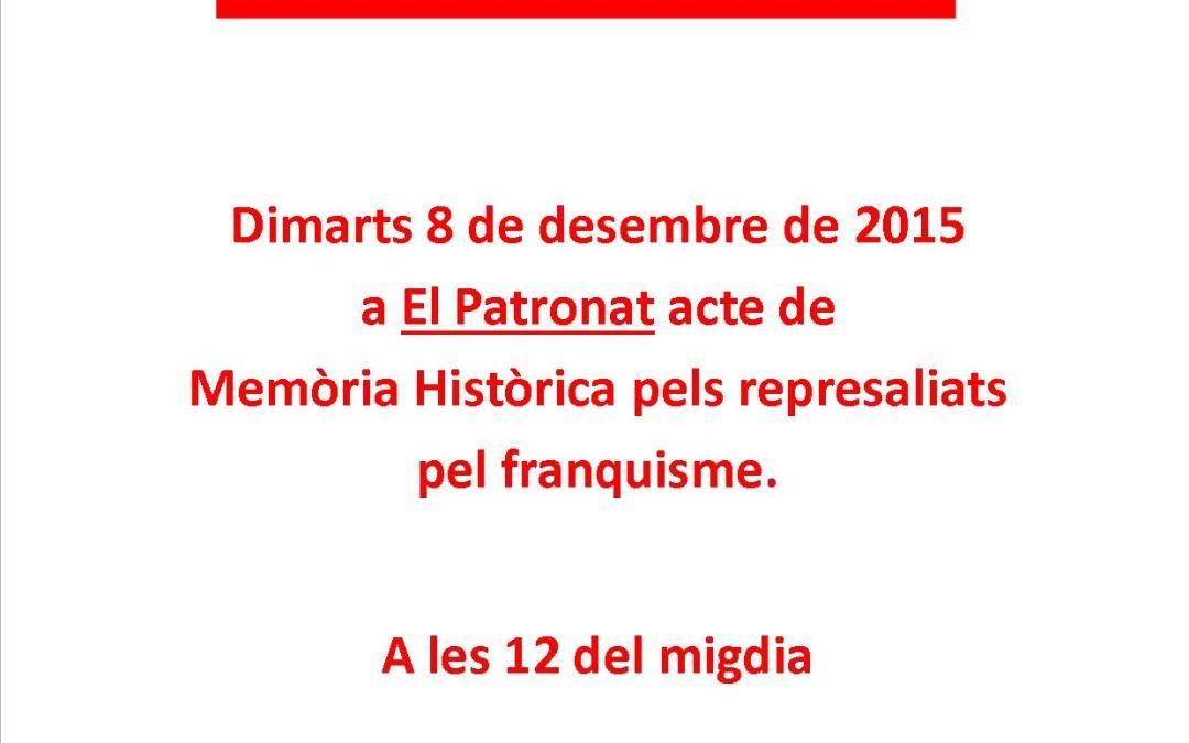 Acte 8 desembre 2015 Memòria Històrica