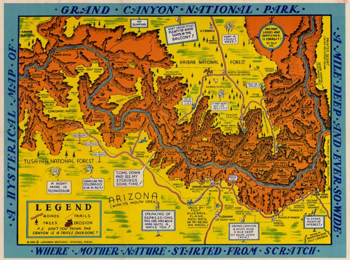 Cartoon travel map of Grand Canyon drawn by commercial artist Jolly Lindgren.