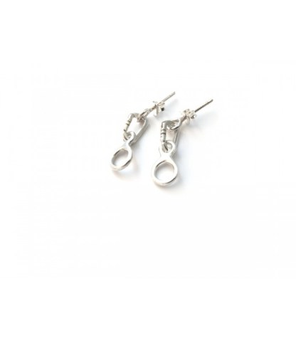 STERLING SILVER EARRINGS CARABINER + FIGURE EIGHT