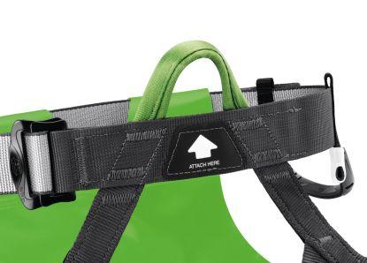 C086AA00 - Petzl CANYON CLUB - Einzelbefestigungspunkt mit grüner Farbcodierung und Anschlussanzeige für effizientes Donning und schnelle visuelle Kontrolle.