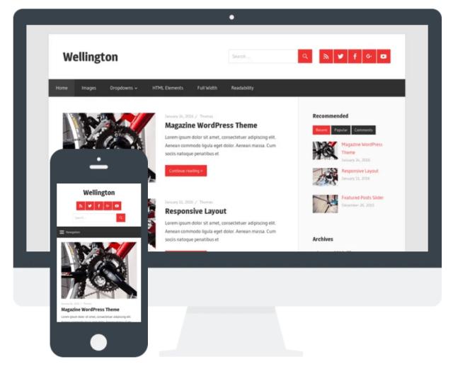 Wellington wordpress blog theme