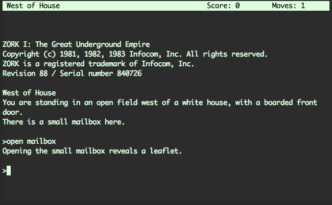 ZORK — You are Likely to be Triggered by a Grue