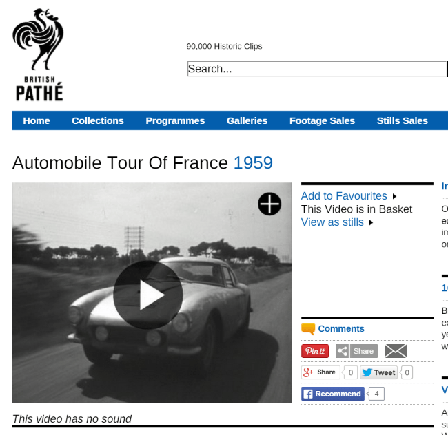 tour de france link Pathe 1959