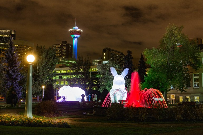 Giant inflatable rabbits taking over our town.