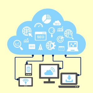 SEO and cloud computing concept -  icon connect to cloud