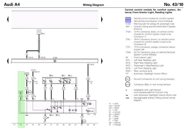 Audi A4 Ccm Wiring Diagram : Audi a b interior lights not working