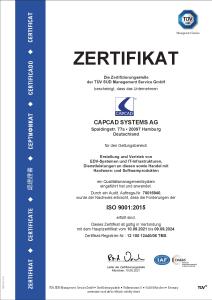 Zertifikat ISO 9001 CAPCAD SYSTEMS AG IT-Dienstleister | IT-Systemhaus Hamburg