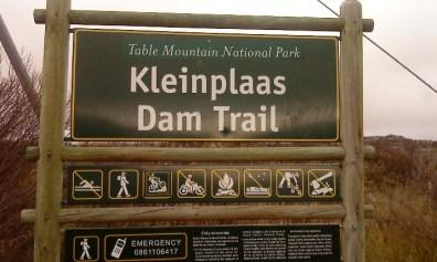 Kleinplaas Dam Trail signpost