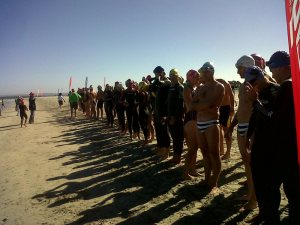 Lining up for the start of the 2012 Around the Island open-water swim in Langebaan