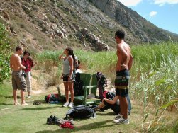 Gearing-up at Steeples Crag, Montagu
