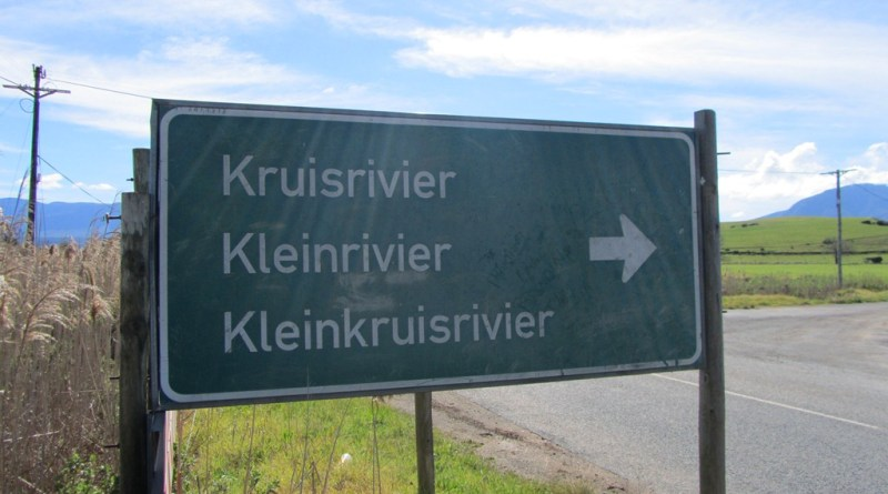 Kruisrivier, Kleinrivier, Kleinkruisrivier sign, Riversdale