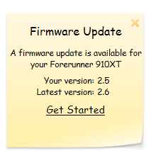 Step 1: Garmin firmware update 2.6 notification