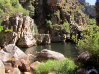 Swimming and cliff-jumping at Die Hel, Groot Winterhoek