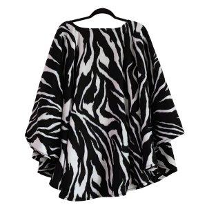 Adult Hospital Gift Fleece Poncho Cape Ivy Zebra black and white