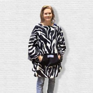 Adult Hospital Gift Fleece Poncho Cape Ivy Zebra Black White