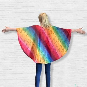 Child Hospital Gift Fleece Poncho Bright Mermaid Wide