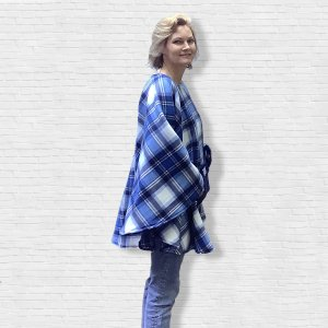 Adult Teen Hospital Gift Fleece Poncho Cape Ivy Blue White Plaid