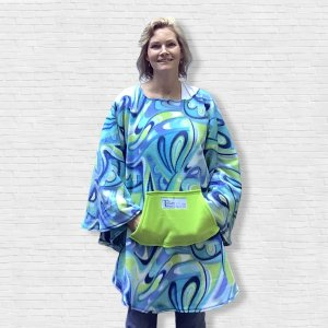 Adult Teen Hospital Gift Fleece Poncho Cape Ivy Periwinkle Lime