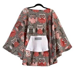 Adult Hospital Gift Fleece Poncho Cape Ivy Owl