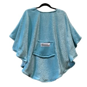 Child Hospital Gift Fleece Poncho Cape Aqua Silver Stars