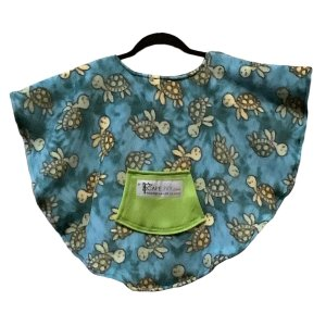 Toddler Hospital Gift Fleece Poncho Cape Ivy Turquoise Turtle