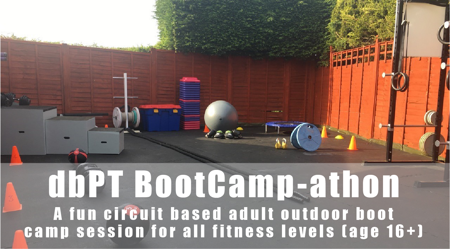 dbPT BootCamp-Athon. A fun circuit based adult outdoor boot camp session for all fitness levels (age 16+).