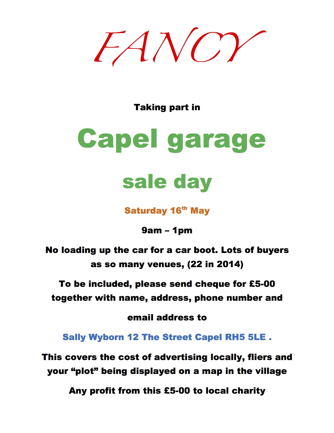 Capel Garage Sale