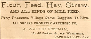 Advertisement taken from the July 20, 1886 Edition of the Cape May Daily Wave