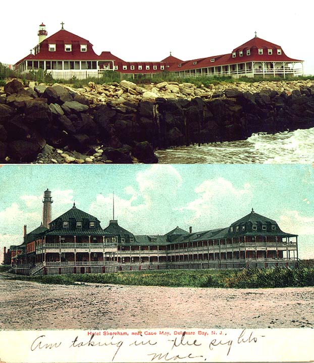 Top photo (August, 2000) shows the precarious perch that steady beach erosion has caused around the solid ground under the former Shoreham Hotel, now St. Mary's by the Sea. Note there are still two levels to the building, but the wall of defending rock blocks the photographer's view from his own precarious position on a wet jetty.  The postcard (a colorized rendering from a black and white photo taken from nearly the same point-of-view as above, but apparently on solid ground) was sent home by a visitor to the Shoreham Hotel in 1907 and acquired by Cape Publishing for this article.